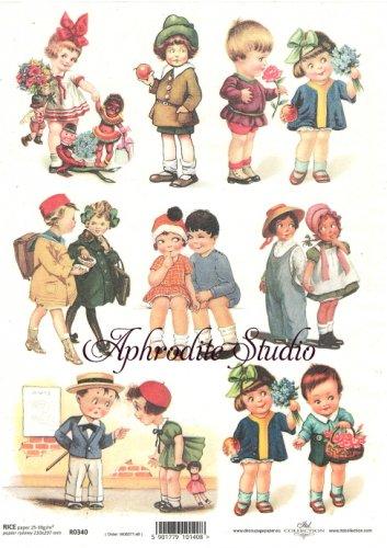 商用販売可能 レトロな子供たち ヴィクトリアン デコパージュシート 1枚 和紙 ライスペーパー ITD Collection
