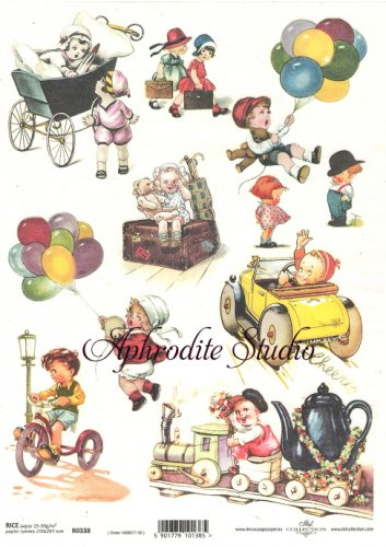 商用販売可能 レトロな子供柄 デコパージュシート 1枚 和紙 ライスペーパー ITD Collection