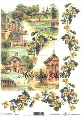 商用販売可能 葡萄とドイツの家 デコパージュシート 1枚 和紙 ライスペーパー ITD Collection