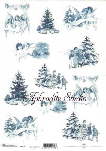 商用販売可能 天使ともみの木 インクブルー クリスマス デコパージュシート 1枚 和紙 ライスペーパー ITD Collection