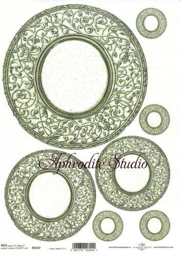 商用販売可能 円形デコラティブフレーム グリーン デコパージュシート 1枚 和紙 ライスペーパー ITD Collection