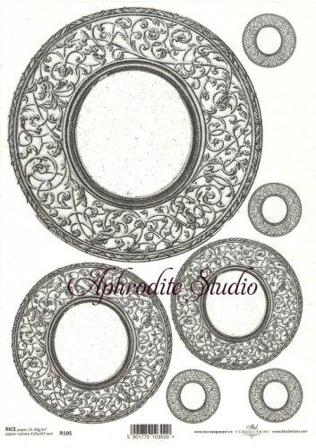 商用販売可能 円形デコラティブフレーム ブラック デコパージュシート 1枚 和紙 ライスペーパー ITD Collection
