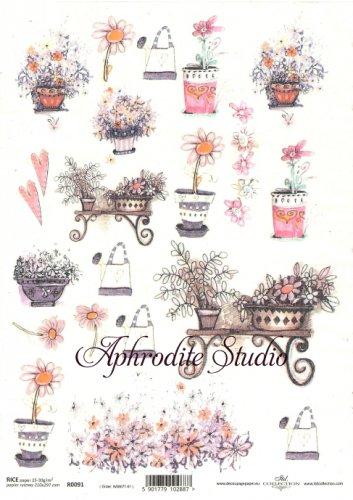 商用販売可能 鉢植えの花のイラスト デコパージュシート 1枚 和紙 ライスペーパー ITD Collection