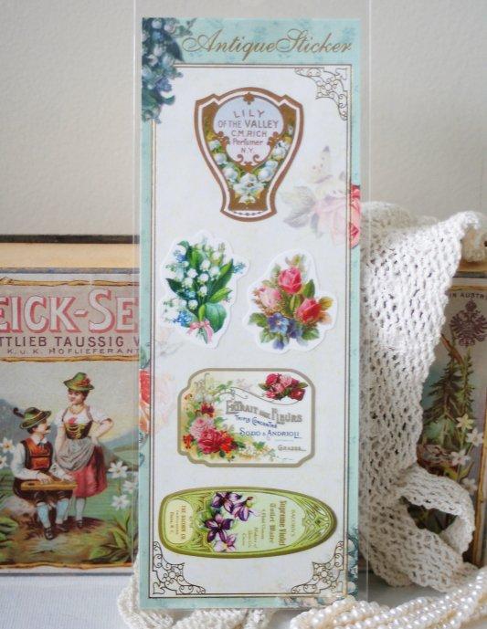 アンティークデザイン ステッカー 薔薇の香水ラベル 1枚