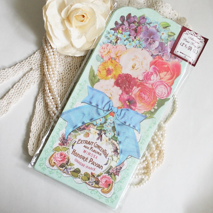 アンティークデザイン ローズ 薔薇のダイカット ポチ袋 ミント  Lサイズ 90×193mm 5枚セット