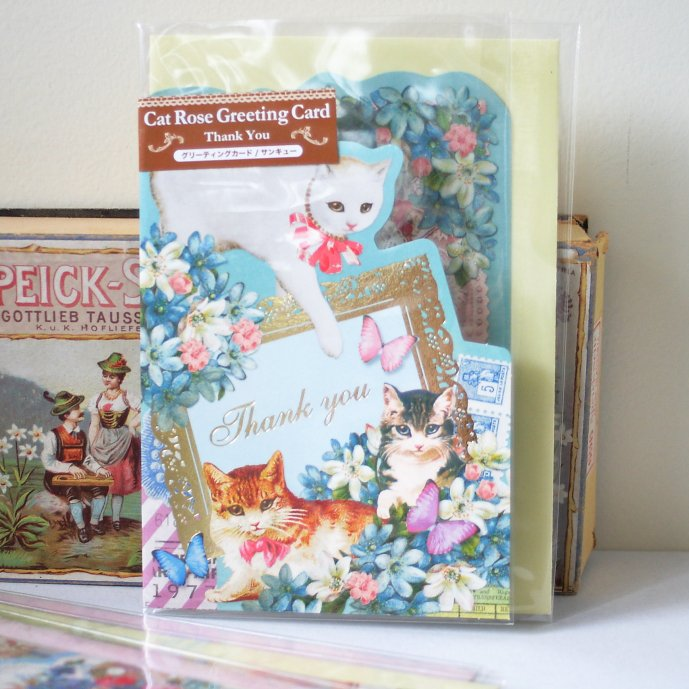 ポストカード【Thank you】 ネコとローズがかわいいお誕生日カード キャット ローズシリーズ グリーティングカード