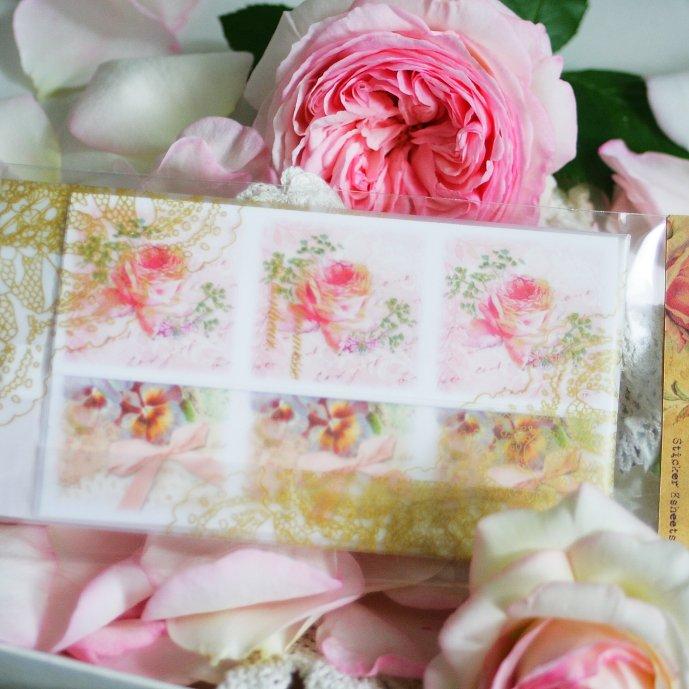パピエ・ドレ 花型シール★薔薇と花 直径3.3cmx18枚 ステッカー Papier Dore
