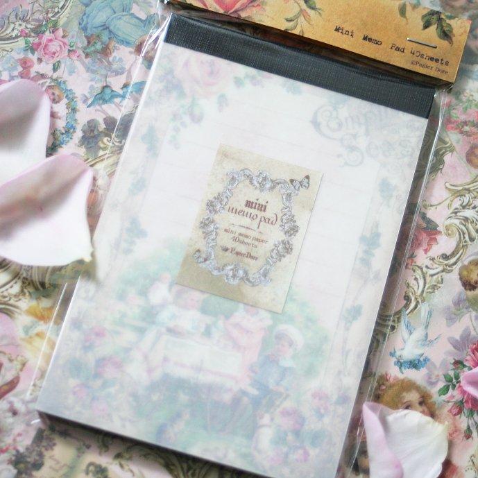 パピエ・ドレ ミニメモ帳★楽しいお茶会 12×8cm 40枚綴り Papier Dore