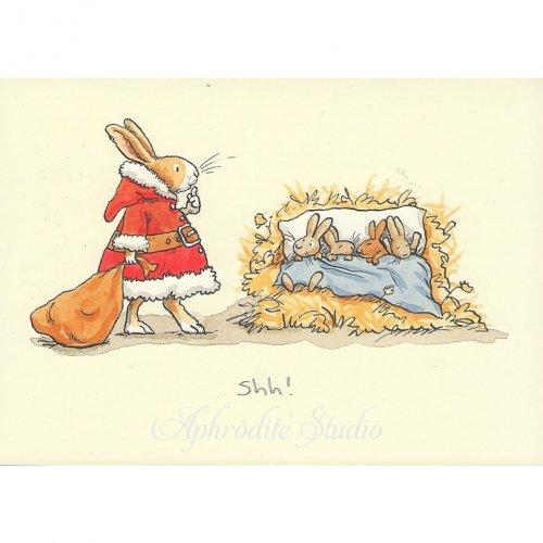 アニタ・ジェラーム メッセージカード【SHH!】 ブランククリスマスカード Anita Jeram