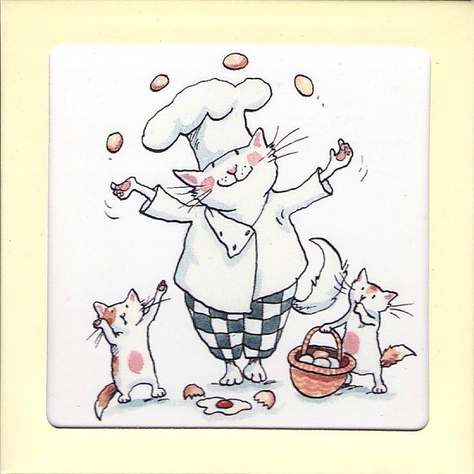 アニタ・ジェラーム キッチン ミニタイル【JUGGLING EGGS】 小さなタイル Anita Jeram