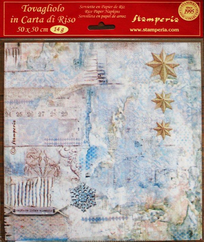 商用販売可能 スタンペリア 極薄紙 【Blue Stars Little Stars 】星 ライスペーパーナプキン Stamperia