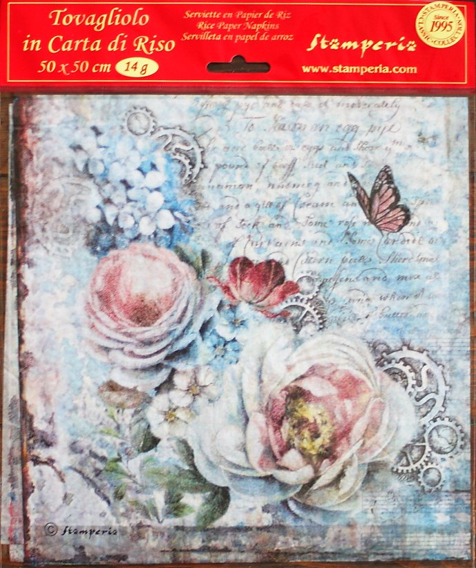 商用販売可能 スタンペリア 極薄紙 【White roses and gearwheels】薔薇 ライスペーパーナプキン Stamperia