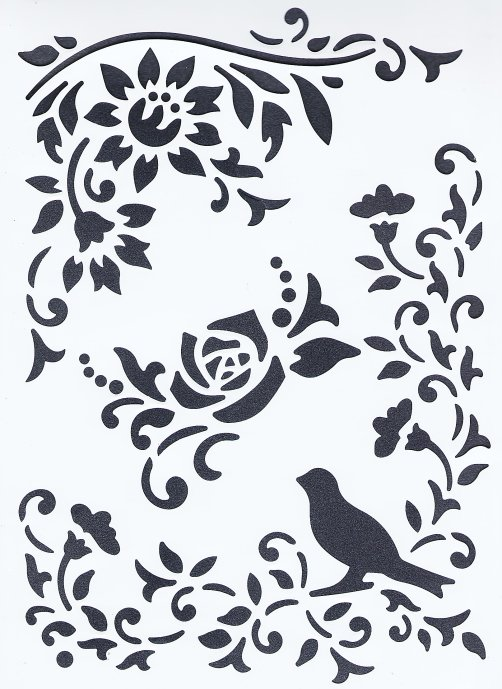 【薔薇と小鳥】 ステンシルシート♪ 21x31cm テンプレート エンボス ミックメディアに