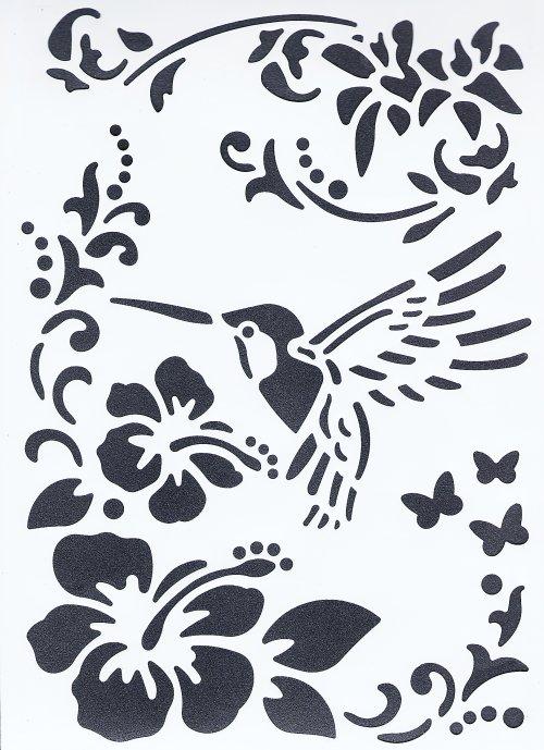 【小鳥とハイビスカス トロピカル】 ステンシルシート♪ 21x31cm テンプレート エンボス ミックメディアに