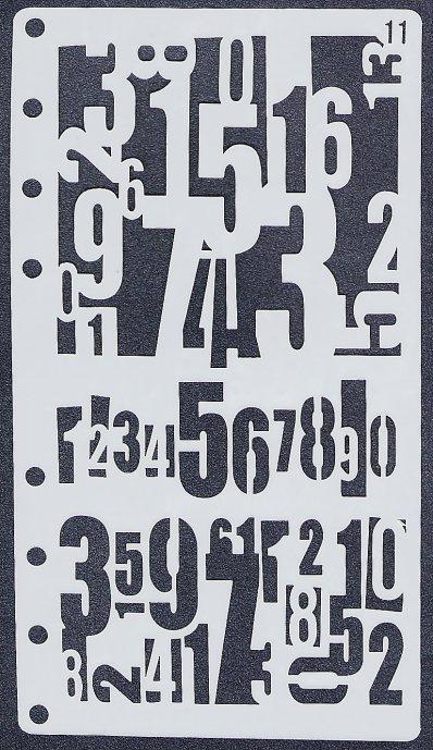 【数字】 ステンシルシート♪ 17.5x8.5cm テンプレート エンボス ミックメディアに