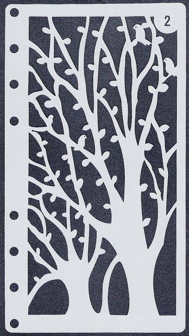 【樹木】 ステンシルシート♪ 17.5x8.5cm テンプレート エンボス ミックメディアに