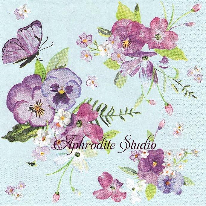 Spring Flowers on Blue Background ビオラ お花 1枚 バラ売り 33cm ペーパーナプキン Daisy