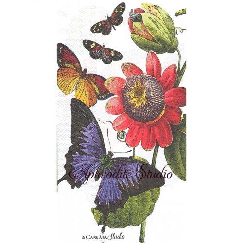 33x42cm CASKATA STUDIO BUTTERFRIES 蝶と花 1枚 バラ売り ペーパーナプキン Ihr