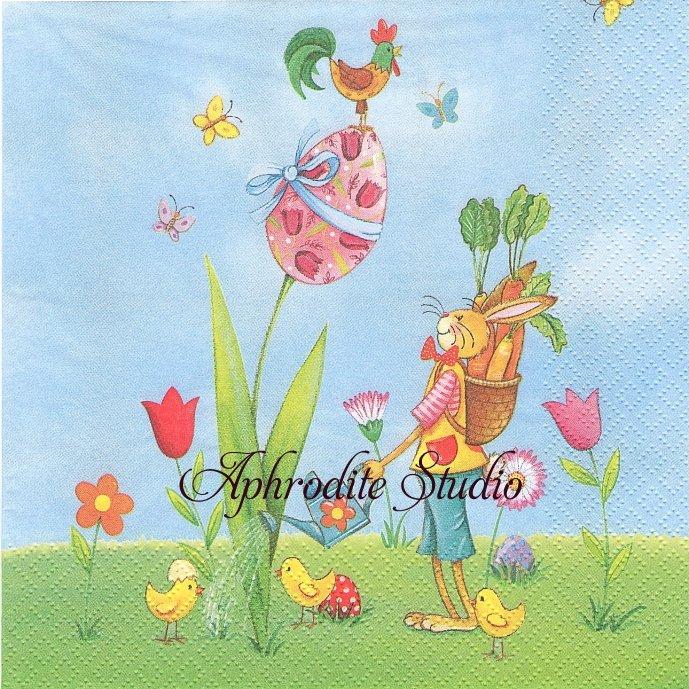 Pasqua in Giardino 卵のチューリップと兎 イースター バニー ラビット 1枚 バラ売り 33cm ペーパーナプキン デコパージュ ti-flair