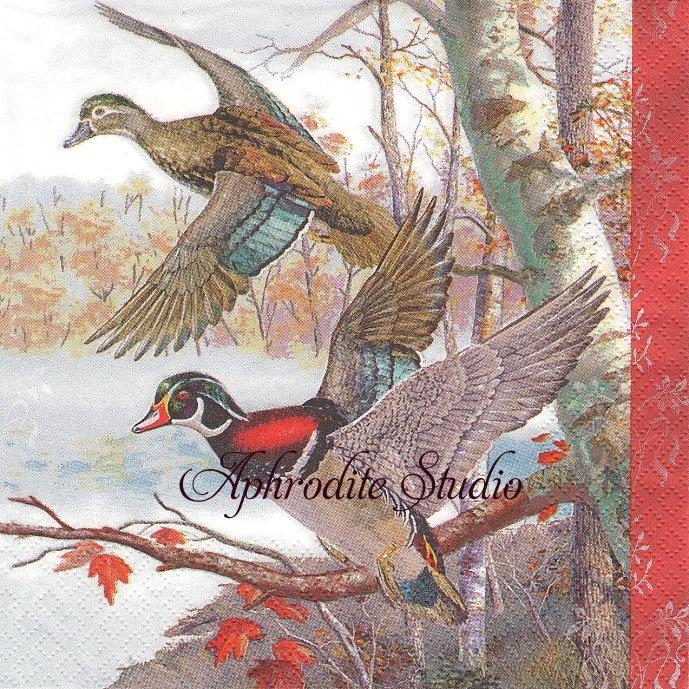 秋の風景 鳥 1枚 バラ売り 33cm ペーパーナプキン Maki