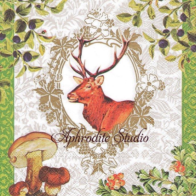 鹿の秋のフレーム きのこ 1枚 バラ売り 33cm ペーパーナプキン デコパージュ stewo