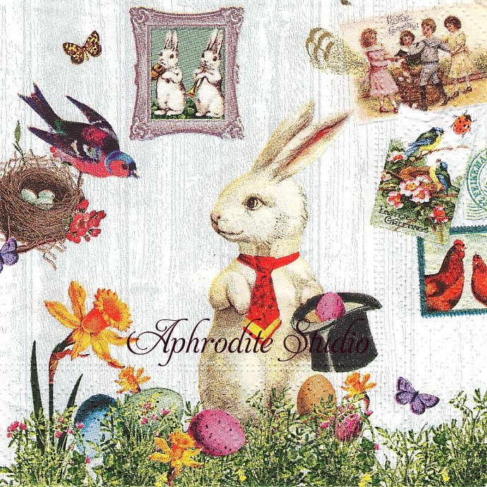 25cm Magic Easter rabbit シルクハットのうさぎ 兎 イースター アンティーク 1枚 バラ売り ペーパーナプキン Paper+Design