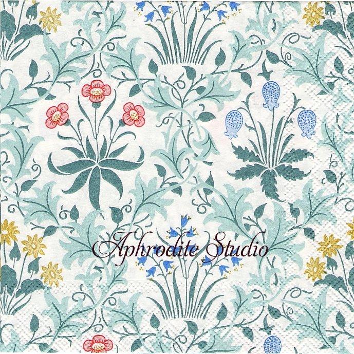25cm V&A ウィリアム・モリス CELADINE ブルー 草花の紋様 J.H. Dearle 1枚 バラ売り ペーパーナプキン William Morris Ihr