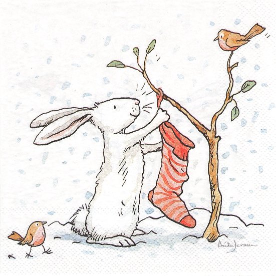 1パック20枚 未開封 アニタ・ジェラーム CHARMING SNOW RABBITS レッドストッキング 赤い靴下 うさぎ Anita Jeram ペーパーナプキン