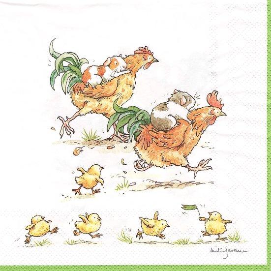 1パック20枚 未開封 アニタ・ジェラーム RUN ROOSTER RUN 鶏レース Anita Jeram ペーパーナプキン