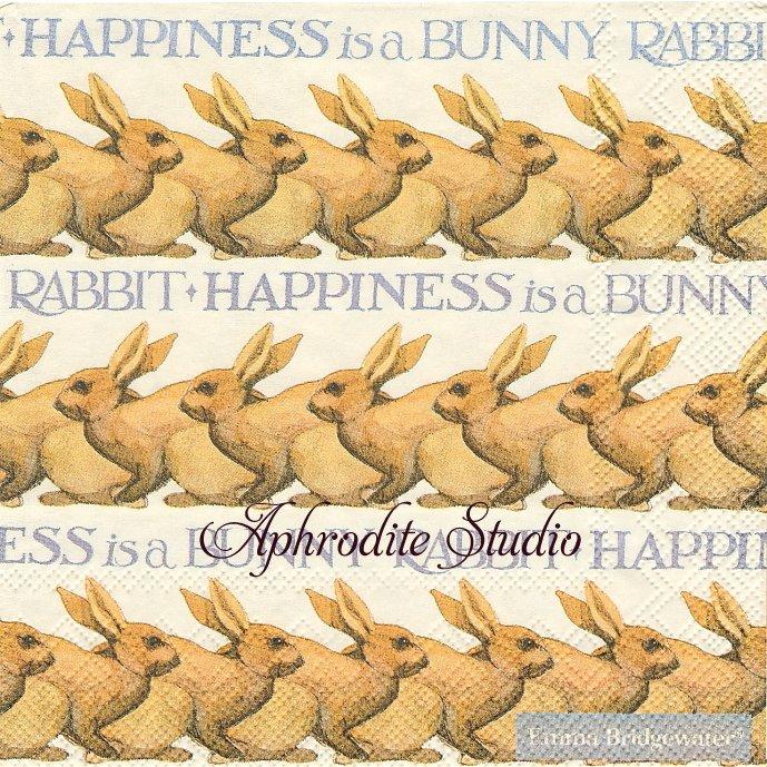 エマ・ブリッジウォーター HAPPINESS IS A BUNNY ボーダー 兎 バニー ラビット イースター Emma Bridgewater 1枚 バラ売り 33cm ペーパーナプキン Ihr