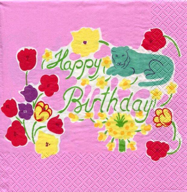 北欧 廃盤 マリメッコ HAPPY BIRTHDAY ピンク ハッピーバースデー フィンランド製 1枚 ばら売り ペーパーナプキン marimekko