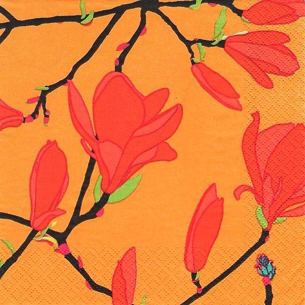 北欧 廃盤 マリメッコ KEISARINNA オレンジ ケイサリンナ マグノリア 女帝 フィンランド製 1枚 バラ売り 33cm ペーパーナプキン marimekko