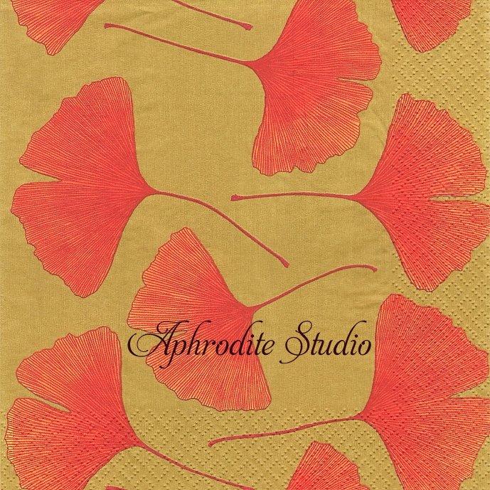 北欧 廃盤 マリメッコ 銀杏 ゴールド イチョウ フィンランド製 1枚 バラ売り 33cm ペーパーナプキン デコパージュ marimekko