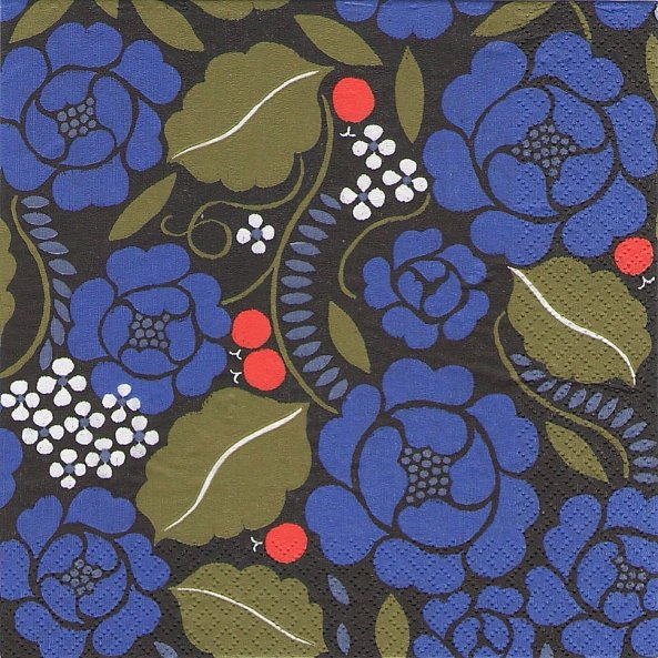 北欧 廃盤 マリメッコ SONJA ブルー ソンヤ お花 フィンランド製 1枚 バラ売り ペーパーナプキン marimekko