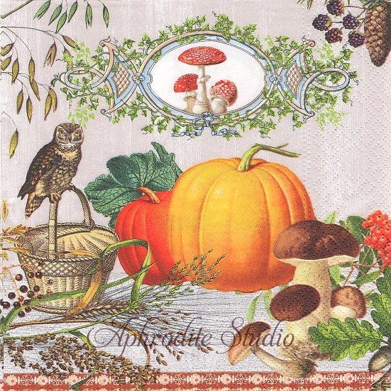 1パック20枚 Harvest Time 緻密なハロウィンのカボチャの絵 33cm ペーパーナプキン Nouveau