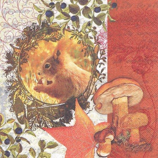1パック20枚 Autumn Flair 秋のリースとリス きのこ 33cm ペーパーナプキン HOME FASHION