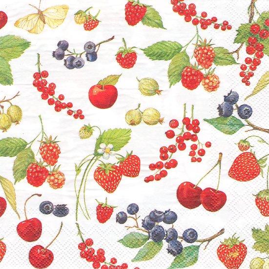 1パック20枚入 未開封 FRUITS OF SUMMER 夏の果物 ベリー、ブルーベリー、ストロベリー 苺 33cm ペーパーナプキン Ihr