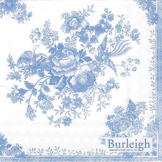 1パック20枚入 未開封 バーレイ ASIATIC PHEASANT ブルー 薔薇のブーケ Burleigh 33cm ペーパーナプキン Ihr