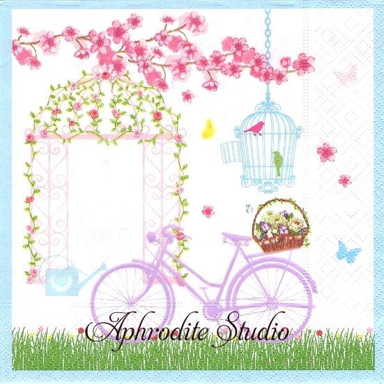 1パック20枚 廃番 SPRING IN THE GARDEN 花とガゼボ、自転車 33cm ペーパーナプキン Easy Life