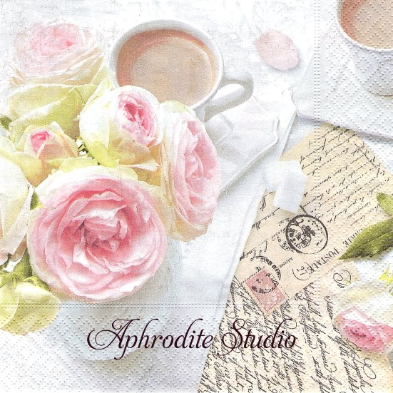 1パック20枚 廃番 ROMANTIC BREAK 写真 ピンクの薔薇とアンティークポストカード 33cm ペーパーナプキン Easy Life