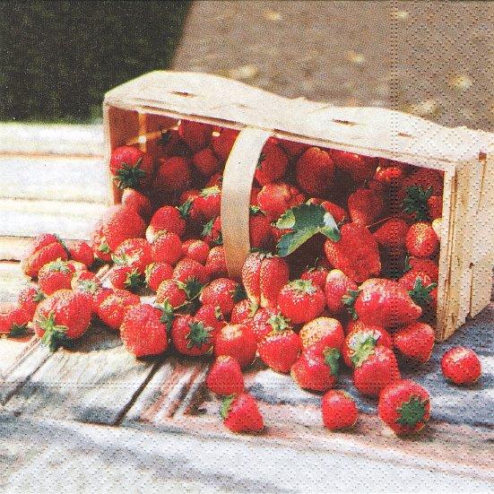 1パック20枚 FRAISES 写真 バスケットからこぼれ落ちる苺 ストロベリーズ 33cm ペーパーナプキン Easy Life