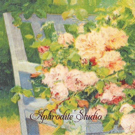1パック20枚 廃番 FLOLWER ON BENCH 白い椅子とピンクの薔薇 油彩 33cm ペーパーナプキン Easy Life