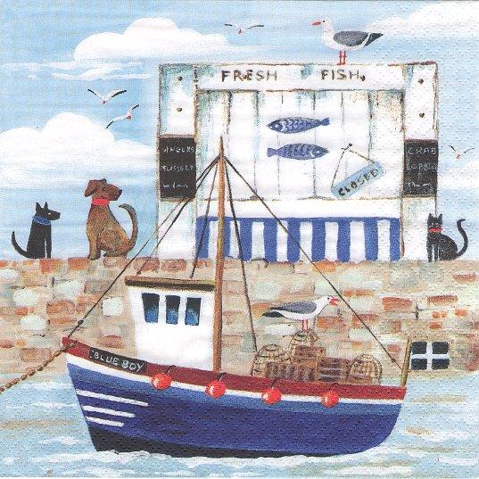 1パック20枚 未開封 Blue Boy 波止場の犬と黒猫と渡り鳥 青 Maureen Bonfield ペーパーナプキン ti-flair