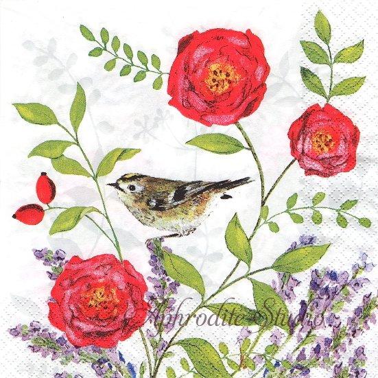 1パック20枚 未開封 Teezauber 花と小鳥 Daniela Drescher ペーパーナプキン gratz VERLAG