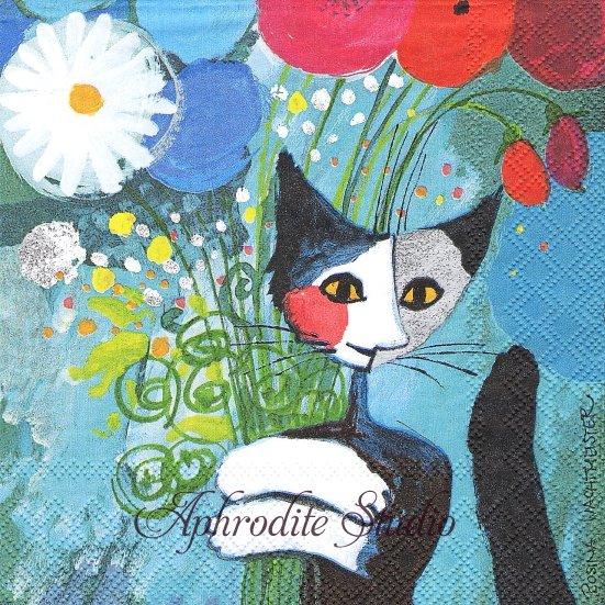1パック20枚 未開封 花束抱えた猫 ネコ キャット cat ROSINA WACHTMEISTER 33cm ペーパーナプキン stewo