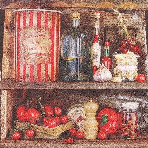 1パック20枚 Rustique ラスティック キッチンの棚 トマト 33cm ペーパーナプキン Nouveau