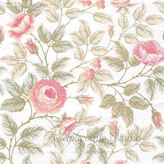 1パック20枚 未開封 淡い色彩の薔薇 33cm ペーパーナプキン デコパージュ TETE a TETE
