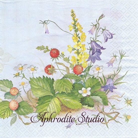 1パック20枚 廃盤 野の花と苺 ストロベリー いちご サックス 33cm ペーパーナプキン HOME FASHION