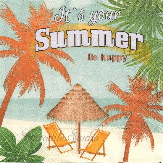 1パック20枚 It's your summer 夏の砂浜 33cm 未開封 ペーパーナプキン Paper+Design