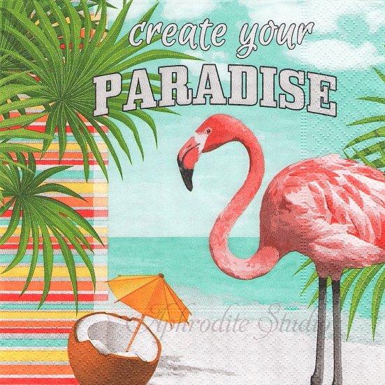 1パック20枚 Create your paradise 楽園のフラミンゴ 33cm 未開封 ペーパーナプキン Paper+Design